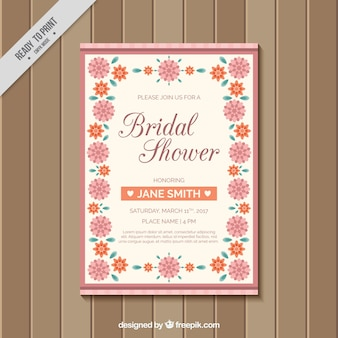 Beautiful bachelorette invitation with pink and orange flowers