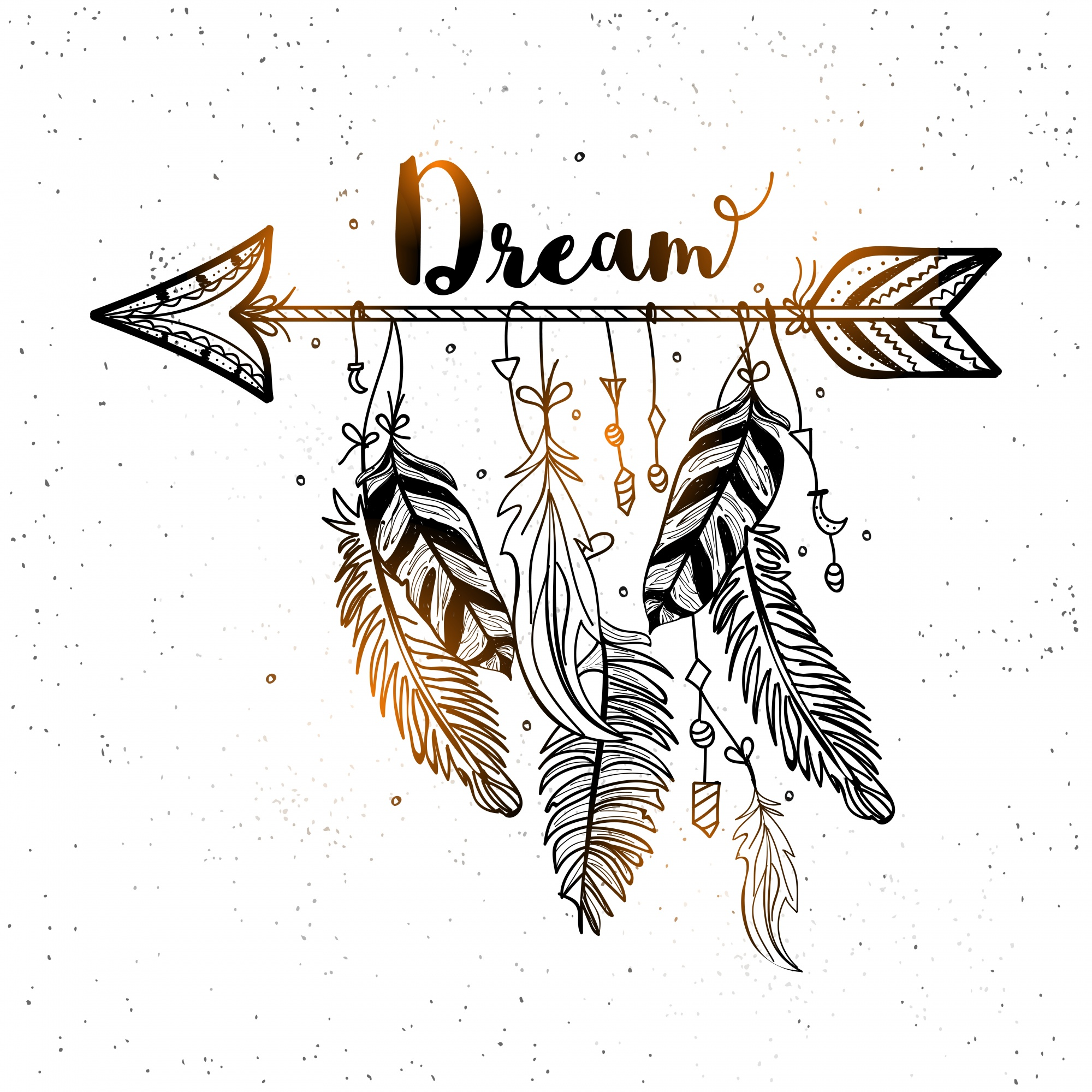 Beautiful background of decorative arrow with feathers in boho style