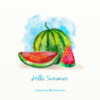 Beautiful background of watercolor watermelon