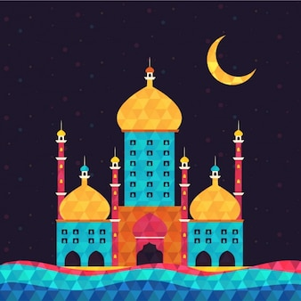 Beautiful background with colored mosque