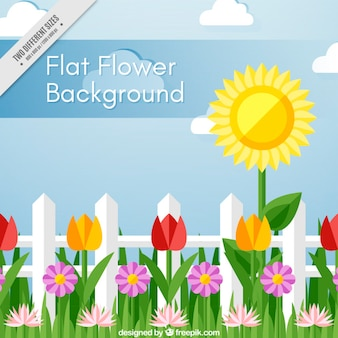 Beautiful background with decorative flowers in flat design