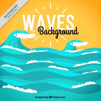 Beautiful background with decorative waves in flat design
