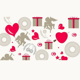 Beautiful background with gifts and cupid characters