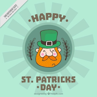 Beautiful background with smiling leprechaun for st patrick's day