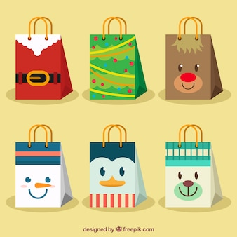 Beautiful bags with christmas characters