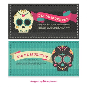 Beautiful banners of the day of the dead