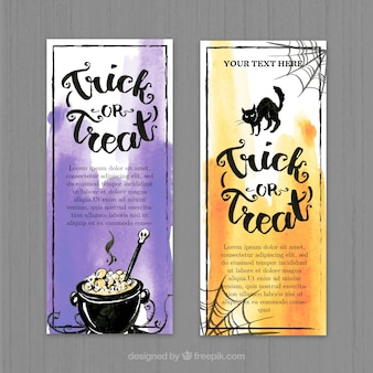 Beautiful banners with a cauldron and a black cat