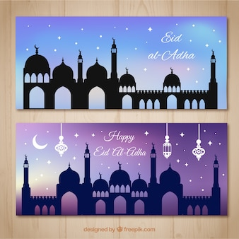 Beautiful banners with starry sky