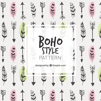 Beautiful boho pattern with feathers