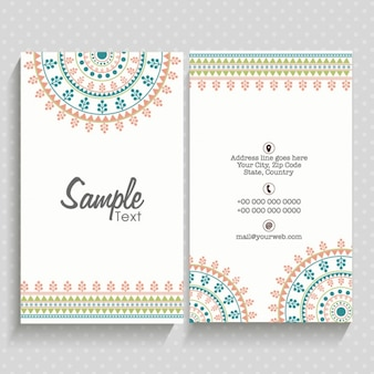 Beautiful business card with geometric decoration in pastel colors