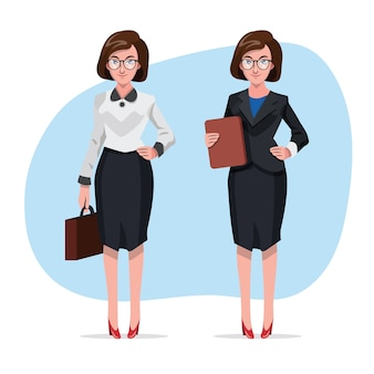 Beautiful business women in office clothes