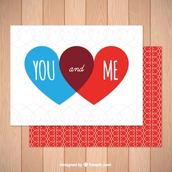 Beautiful card with red and blue hearts