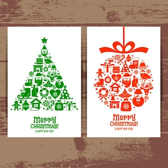 Beautiful cards merry christmas of tree and ball