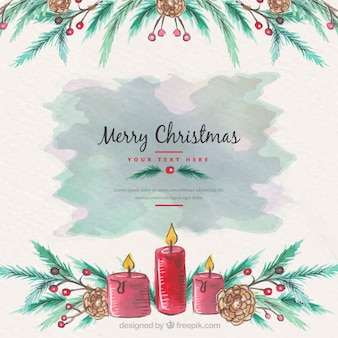 Beautiful christmas background made of watercolor