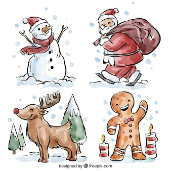 Beautiful christmas characters painted with watercolors