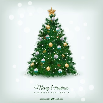 Beautiful christmas tree in realistic style