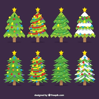 Beautiful christmas trees with stars on top