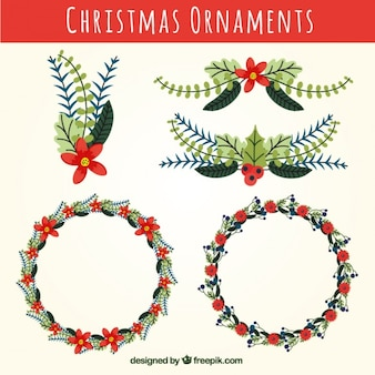 Beautiful christmas wreaths with flowers