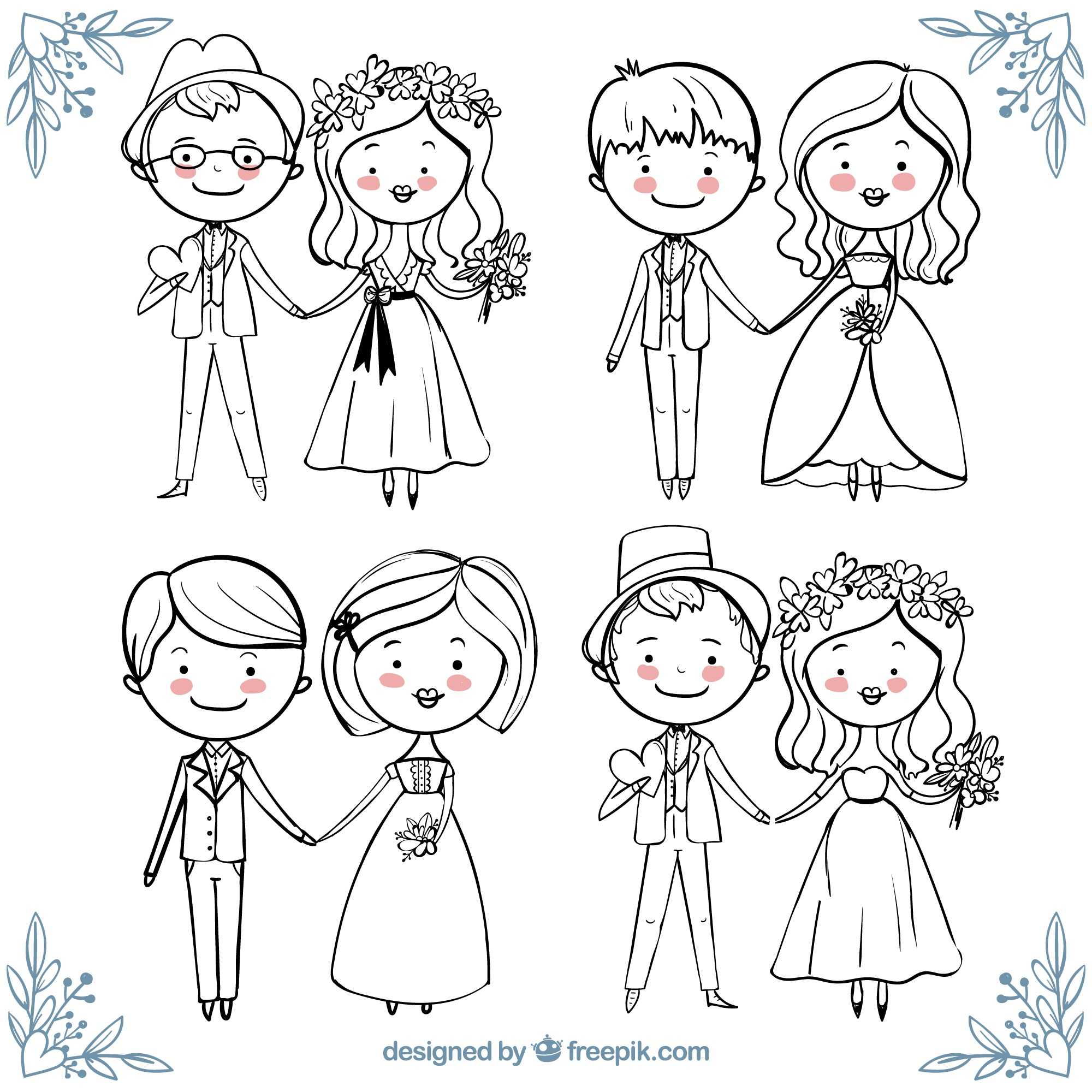 Beautiful collection of happy wedding couples in hand-drawn style