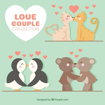Beautiful couples of animals kissing