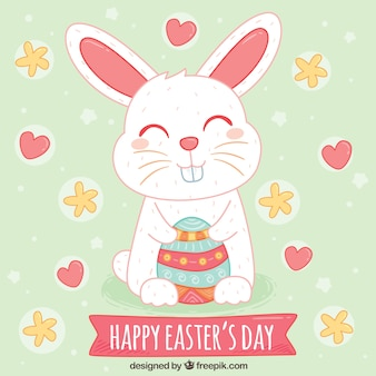 Beautiful easter background of happy rabbit