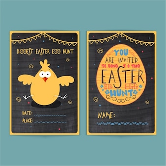 Beautiful easter invitation with chick and egg