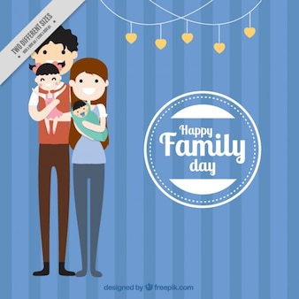 Beautiful family in flat design background