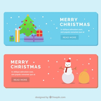 Beautiful flat banners for christmas