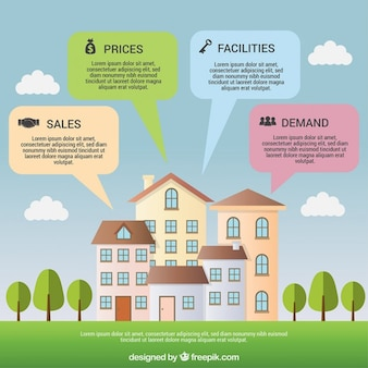 Beautiful flat houses of infographic elements for real estate