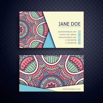 Beautiful floral ethnic business card