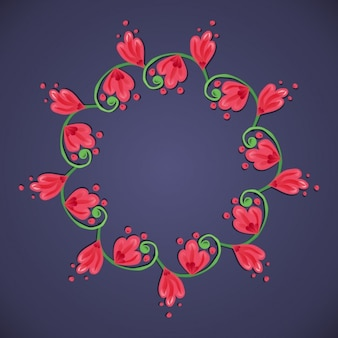 Beautiful floral frame on a blue background