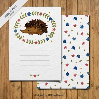 Beautiful floral watercolor card of hedgehog