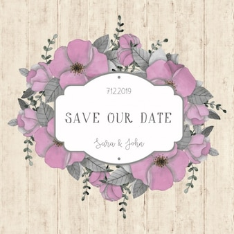 Beautiful floral wedding card on wood