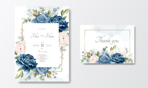Beautiful floral wreath wedding invitation card template