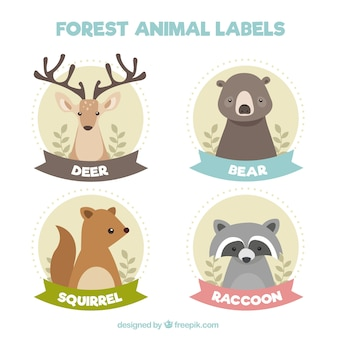 Beautiful forest animal stickers in vintage style