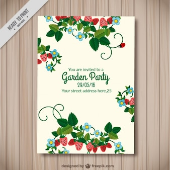 Beautiful garden party card with strawberries