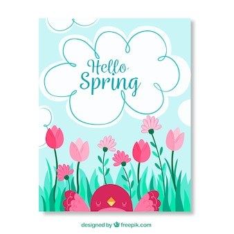 Beautiful greeting card with bird and flowers for spring