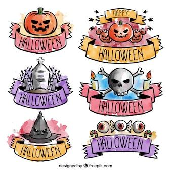 Beautiful halloween stickers in watercolors