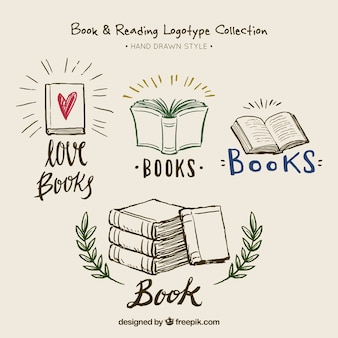 Beautiful hand-drawn book logotypes