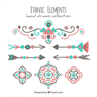Beautiful hand drawn ethnic elements