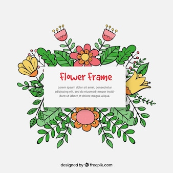 Beautiful hand drawn floral frame background