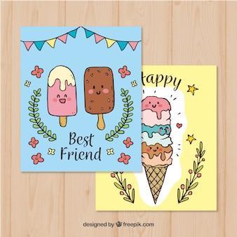 美しい手描きのアイスクリームカード