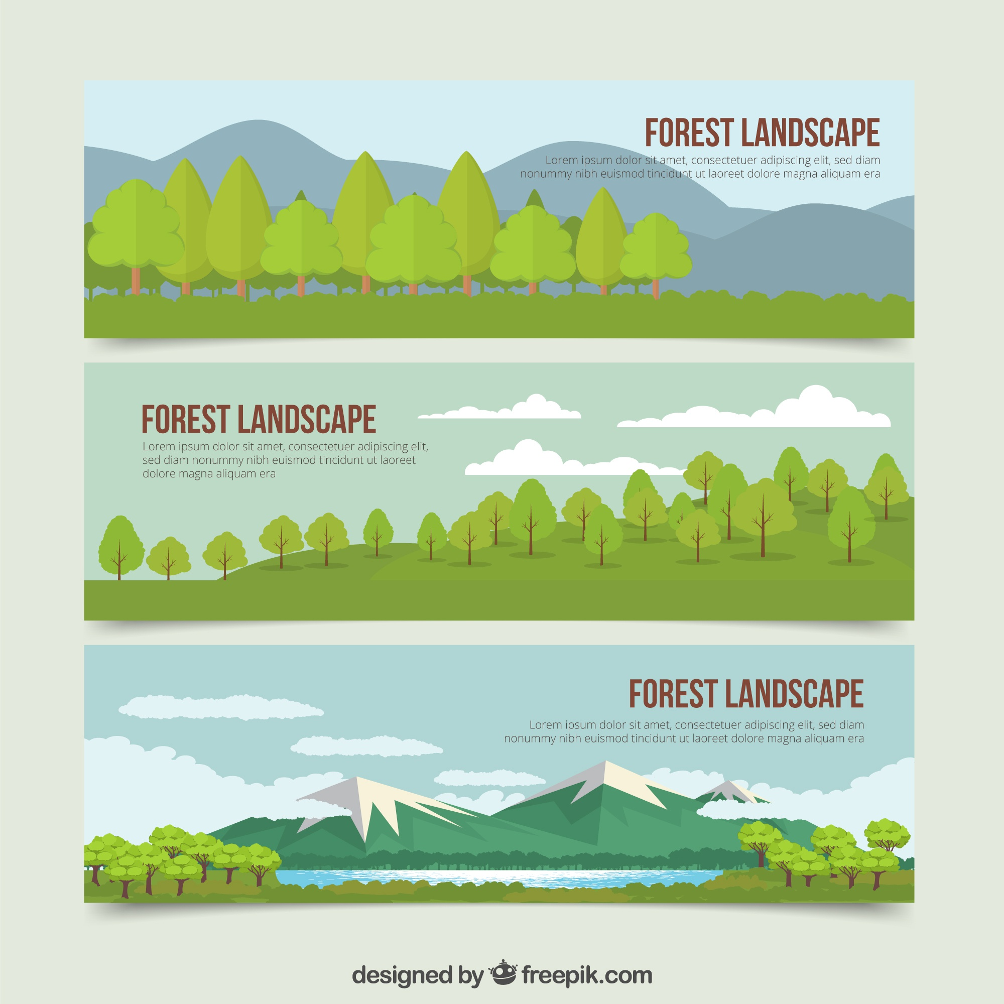 Beautiful hand drawn landscapes nature banners