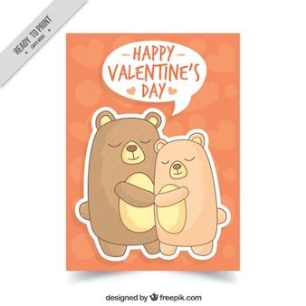 Beautiful hand drawn pair of bears card