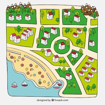Beautiful hand drawn summer city map