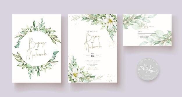 Beautiful hand drawn wedding card template