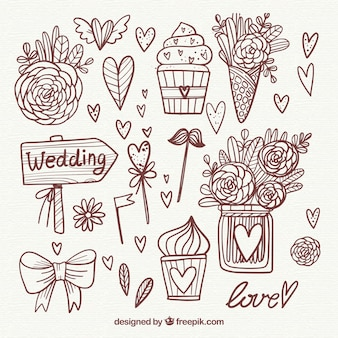 Beautiful hand drawn wedding elements collection