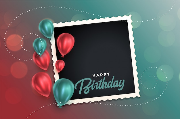 Beautiful happy birthday card with balloons and photo frame