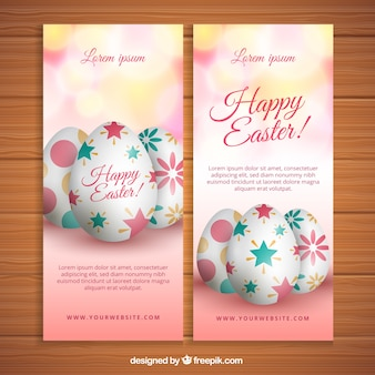 Beautiful happy easter banners with realistic eggs