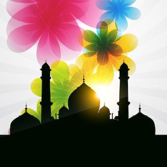 Beautiful islamic illustration with flowers